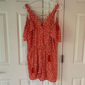Moon river red romper. Size L. Great condition
